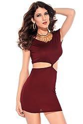 Qurves Wine Waist Cutout Dress