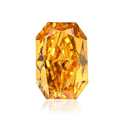 0.79Cts Fancy Vivid Orange Loose Diamond Natural Color Radiant Cut GIA Cert