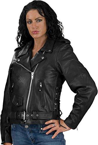 LC6019 Ladies Black Classic MC Jacket in Plus Sizes 5X