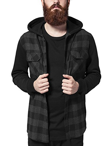 Urban Classics Hooded Checked Flanell Sweat Sleeve Shirt, Camicia Uomo, Mehrfarbig (Blk/Cha/bl 690), XX-Large