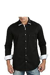 Faceman Men's Cotton Slim Fit Casual Shirt (1003_Black_XXL)