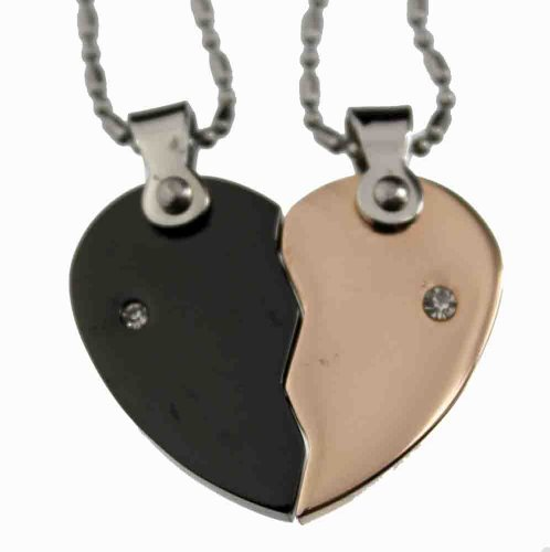 Lovers / Couple Rose Gold & Black Tone Split Heart Pendant Set, Stainless Steel