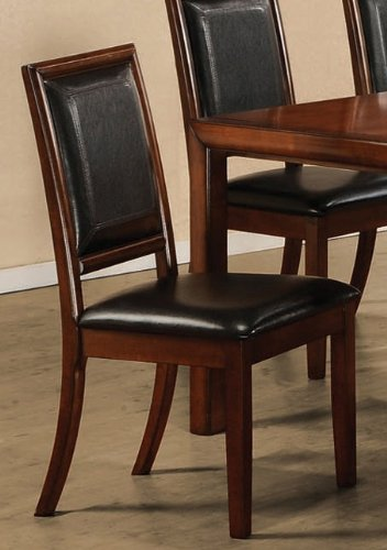 black friday set of 2 dining chairs black leather walnut finish cheap