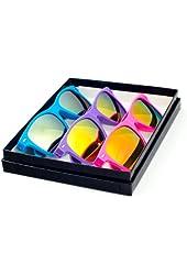 Goson Neon Color Mirror Color Lens Large Horn Rimmed Wayfarer Sunglasses