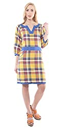 iamme multicoloured check dress with pocket