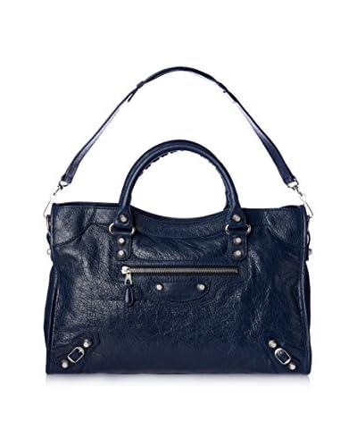 Balenciaga Women's Giant 12 Silver City Shoulder Bag, Dark Blue
