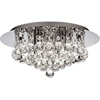 3404-4CC Hanna 4 Light Flush Ceiling Crystal Light by Searchlight lighting
