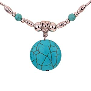 Yazilind Ethnic Tibetan Silver Chain Green Round Rimous Turquoise Pendant Necklace