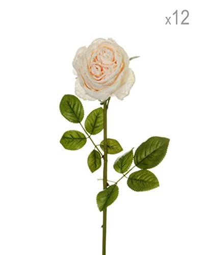 Set 12 Rosas Artificiales Escarchadas