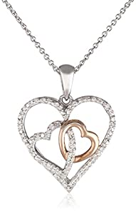 Diamond Triple Heart in Sterling Silver with 18k Rose Gold Plated Pendant Necklace (1/6 Cttw, I-J Color, I2-I3 Clarity), 18""