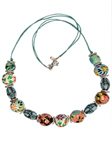 "JousJous Multicolor Lakh Beads Alegria Necklace, 26"" Long"