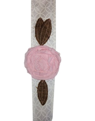 Vintage Rose Wraps Fashion Headbands - Made in the USA. New Spring Colors! (White with Pink Rose)