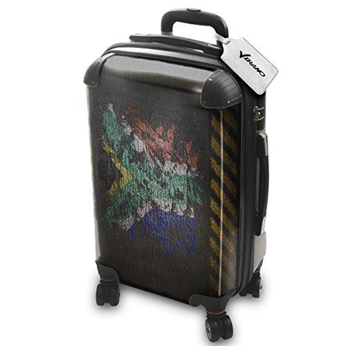 Drapeau Graffiti Afrique Du Sud, Luggage Bagage Trolley Valise de Voyage Rigide, 360 degree 4 Roues Valise avec Echangeable Design Coloré. Grandeur: Adapté à la Cabine S
