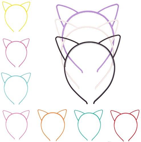 [Bonnie Z. Leonardo Halloween Candy Colors Cat Ears Headband Multicoloured 10PCS] (Cat Halloween Costume Makeup)