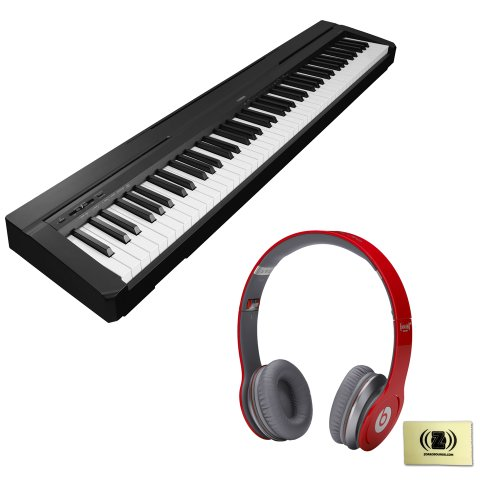Yamaha P-Series P-35 88-Key Digital Piano With Graded Hammer Standard Keyboard And Built-In Speaker System Bundle With Beats By Dr. Dre Solo Hd On-Ear Headphones (Red) And Custom Designed Zorro Sounds Instrument Cloth
