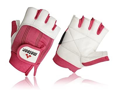 Meteor Leather Weight training Gloves Pink Leather Gym Gloves Womens Training Gloves Small by met-x