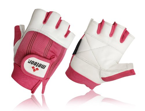 Meteor Leather Weight training Gloves Pink Leather Gym Gloves Womens Training Gloves Small