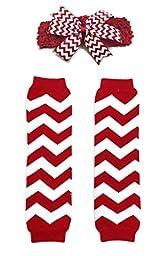 Rush Dance Chevron Zig Zag Sassy Baby Leg Warmer + Headband Set (One Size, Red & White)
