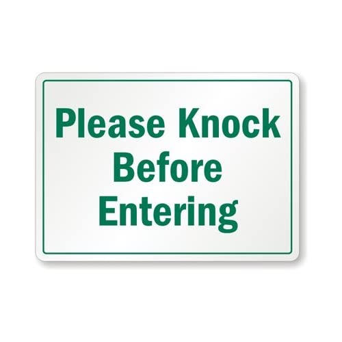 """Please Knock Before Entering Aluminum Sign, 14"""" x 10"""": Industrial ..."""