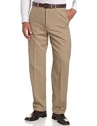 Haggar Men's Cool 18 Hidden Expandable Waist Plain Front Pant