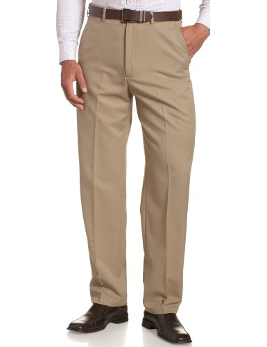 Haggar Men's Cool 18 Hidden Expandable Waist Plain Front Pant,British Khaki,33x29