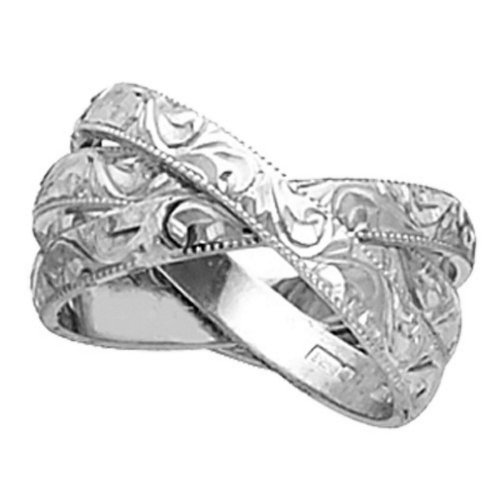 18K White Gold Floral Paisley Women'S Wedding Band (3Mm) Size-3.5
