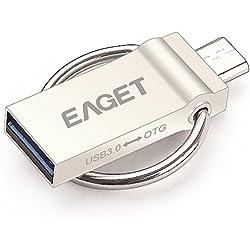 EAGET V90 Penna USB 2in1 USB 3.0 + Micro USB OTG Flash Drive in Metallo con Anello Portachiavi per Smartphone Android / Tablet / PC (64GB)