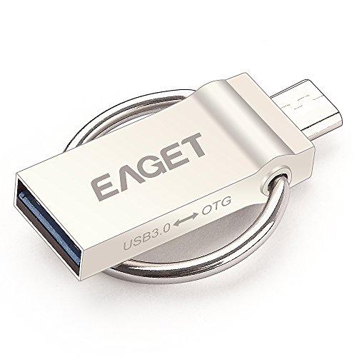 EAGET V90 PenDrive USB 2in1 USB 3.0 + Micro USB OTG Flash Drive in Metallo con Anello Portachiavi per Smartphone Android / Tablet / PC (64GB)
