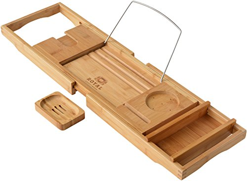Royal Craft Wood Luxury Bathtub Caddy, Natural Bamboo Bath Tub Tray with 1 Free Soap Holder (Tub Rack Caddy compare prices)