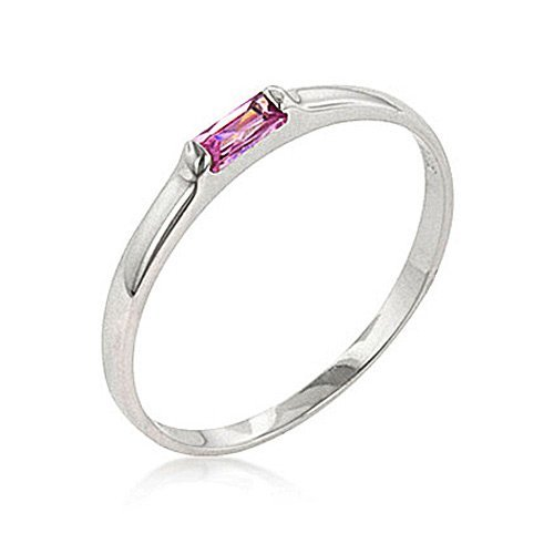 Sterling Silver Pink Topaz Promise Ring By GemGem Jewelry-Size 5
