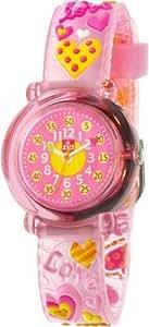 Baby Watch - Montre enfant - Fille - Zip Love - La montre pédagogique - Plastique gomme ROSE avec dessins 3D - Avec méthode d'apprentissage