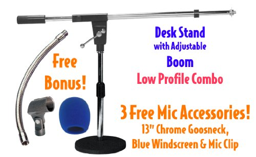 "Desktop Boom Stand With Free 13"" Gooseneck. Shure® Style Microphone Clip & Foam Ball-Type Mic Windscreen"