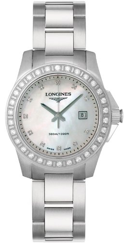 Longines Watches- Longines Conquest Diamond Markers and Diamond Bezel Water Resistant to 300M Women's Watch