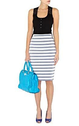 Graphic Stripe Pencil Skirt