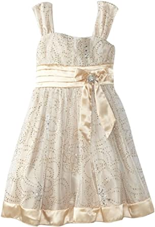 My Michelle Big Girls' Shimmery Dress with Satin Bow and Contrast Hem, Ivory/Gold, 14