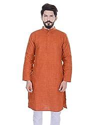 Padam Men's Art Silk Kurta_PMKR0013_Orange_L