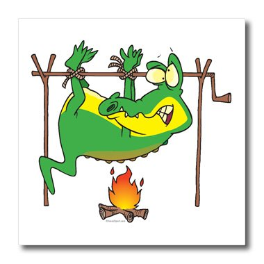 Ht_103849_2 Dooni Designs Random Toons - BBQ Dinner Funny Alligator Gator Cartoon - Iron On Heat Transfers - 6X6 Iron On Heat Transfer For White Material