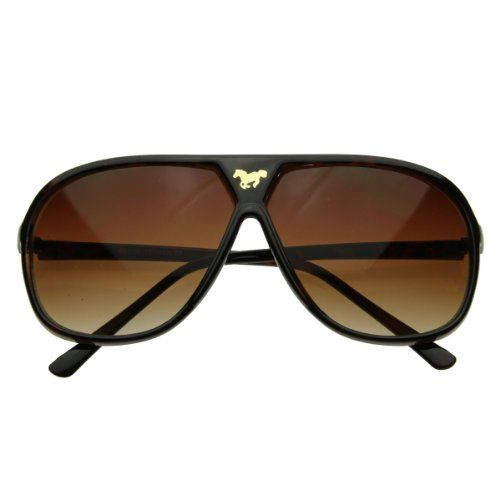zeroUV - Large Retro Stunner Plastic Aviator Sunglasses w/ Mustang Horse Logo (Brown)