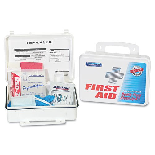 PhysiciansCare Products - PhysiciansCare - Bloodborne Pathogen Kit, OSHA/ANSI Compliant, Plastic Case - Sold As 1 Each - For cleaning blood and other bodily fluid spills. - Helps prevent disease and contamination. -