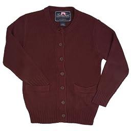French Toast Big Girls\' Knit Cardigan Sweater (12, Burgandy)