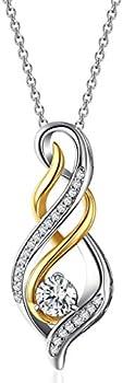Caperci Womens 1ct Cubic Zirconia Twist Pendant Necklace