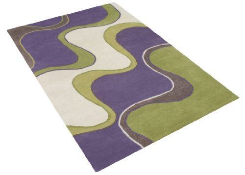 ZnZ Rugs Gallery, 2422_5x8, Hand Made Purple New Zealand Blend Wool Rug, 1, Green, Off-White, 5x8'