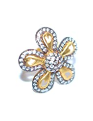 Aina Jewels 92.5 Silver Jewellery Gold Plated With Cubic Zircons Gold Plated 16.25mm Ladies Ring AGPR04