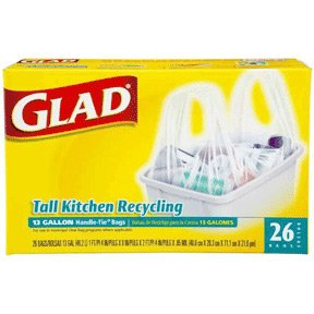 Glad tall kitchen handle tie recycling bags 13 gallon, clear - 26/pack, 9 pk