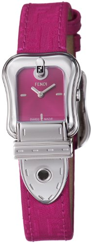 Fendi B. Fendi Ladies Ruby Fabric Leather Strap Buckle Shaped Watch F370277F