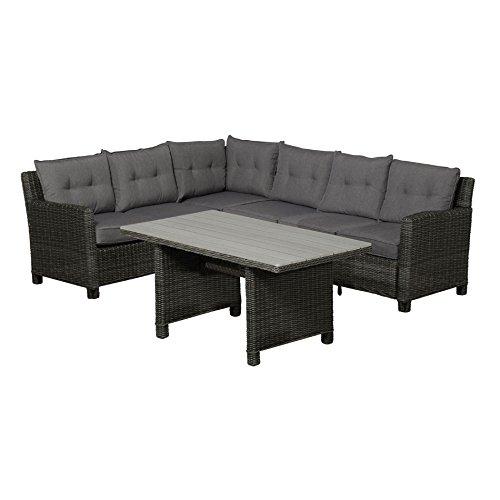 Gartenlounge OUTLIV. Minesota Dining-Loungeset 3-teilig Geflecht earl grey / Kissen anthrazit 700016-835849