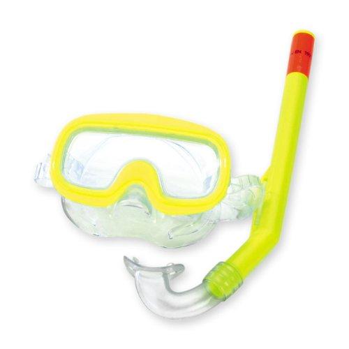 Happy People TaucherSet Maske mit Nasenerker, 34cm Schnorchel, DIN-Genormt, gelb // Tauchermaske Taucherbrille Schnorcheln Set Schwimmbrille Kinder Schnorchelset