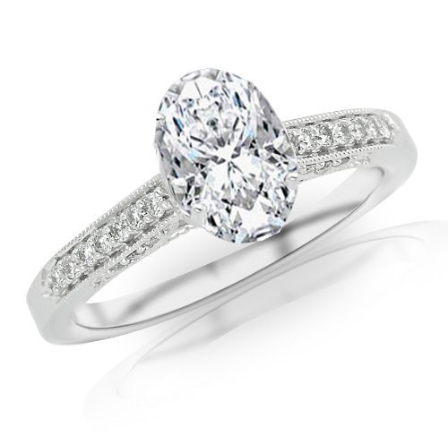 1.14 Carat Classic Designer Pave Set Diamond Engagement Ring w/ Oval Shape Center (J Color SI1 Clarity)