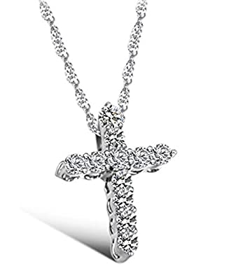 Lily Jewellery Sterling Silver S925 Swarovski Element Crystal Cross Pendant Diamond Necklace