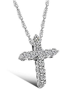 Lily Jewellery Sterling Silver S925 Swarovski Element Crystal Cross Pendant Diamond Necklace